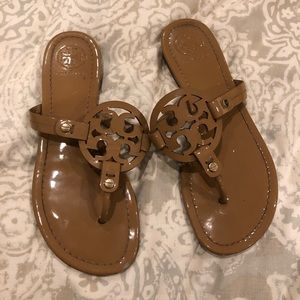 Tory Burch patent leather flip flops